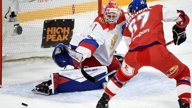Ani Jiří Smejkal v koncovce neuspěl, ruský brankář Jaroslav Askarov v utkání s českým týmem na turnaji Karjala udržel čisté konto.