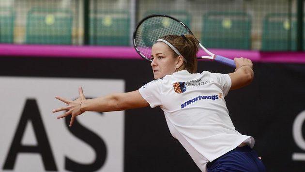 Karolína Muchová už se v Prostějově připravuje na víkendový barážový duel Fed Cupu s Kanadou.