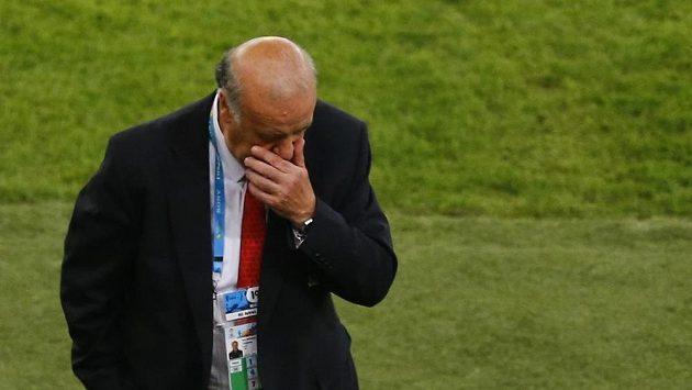 Zklamaný španělský kouč Vicente Del Bosque po utkání s Chile.