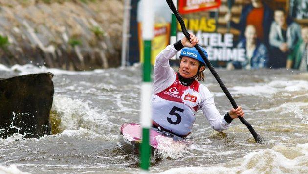 Štěpánka Hilgertová při nominačních závodech ve Veltrusech.
