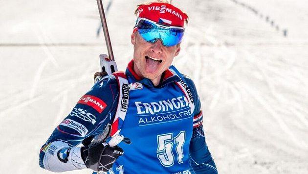 Ondřej Moravec na mistrovství světa v Hochfilzenu.