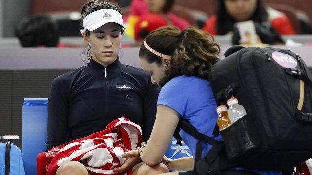 Světová tenisová jednička Garbiňe Muguruzaová na turnaji v Pekingu.