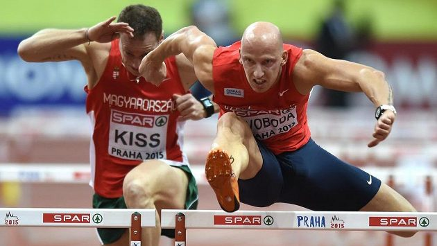 Petr Svoboda během kvalifikace v rámci HME v atletice v Praze.