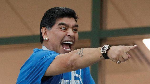 Legendární Diego Maradona během zápasu Argentiny na MS.