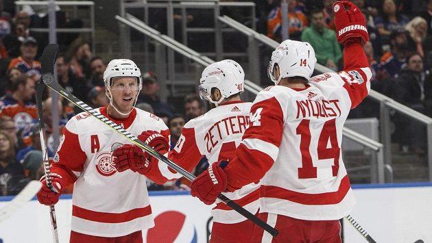 Hokejisté Detroitu se radují z vedoucí trefy do sítě Edmontonu.