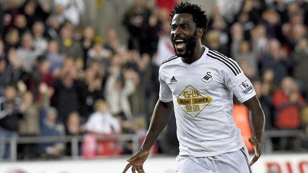 Útočník Swansea Bony Wilfried slaví gól