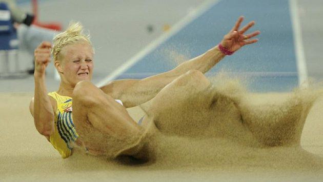 Carolina Klüftová v dálkařském sektoru na loňském světovém šampionátu v Tegu