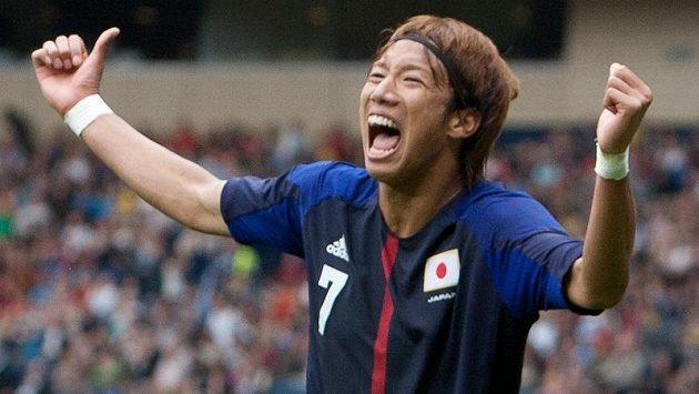 Juki Ocu se raduje z vítězné trefy v utkání olympijského turnaje proti španělským favoritům