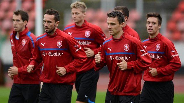 Čeští fotbaloví reprezentanti během tréninku (ilustrační foto).