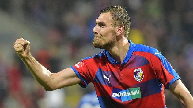 Plzeňský Tomáš Chorý se raduje z gólu proti Slavii.