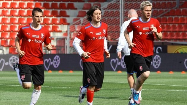 Tomáš Rosický, Vladimír Darida a Tomáš Hübschman na tréninku české reprezentace