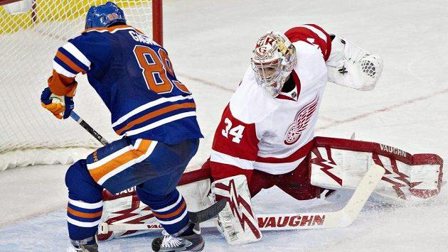 Gagner z Edmontonu si na brankáře Red Wings Mrázka nepřišel.