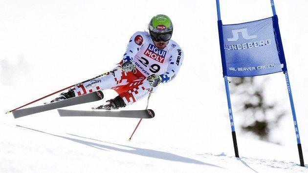 Ondřej Bank na trati superobřího slalomu na mistrovství světa v Beaver Creeku.