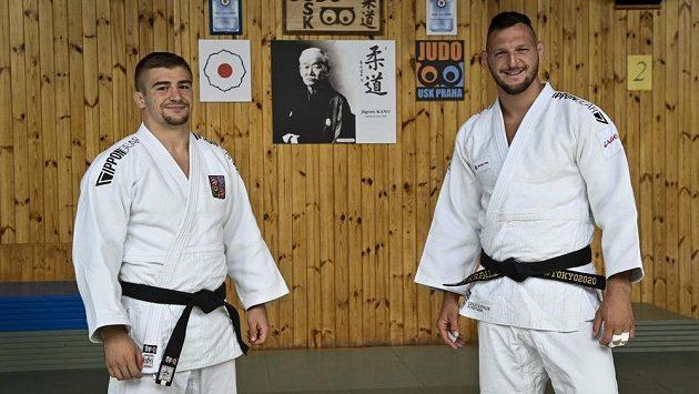 Judista David Klammert (vlevo) s Lukášem Krpálkem před olympijskými hrami v Tokiu.
