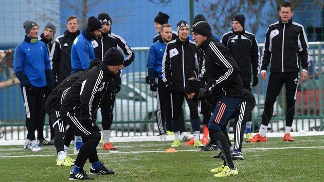 Fotbalisté prvoligového klubu SK Sigma Olomouc na prvním tréninku v novém roce.