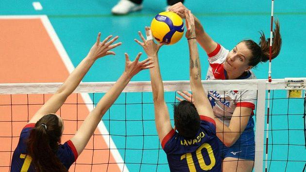 Česká volejbalistka Gabriela Orvošová (vpravo) ilustrační foto