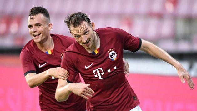 Libor Kozák ze Sparty se raduje z gólu v semifinále poháru proti Plzni.
