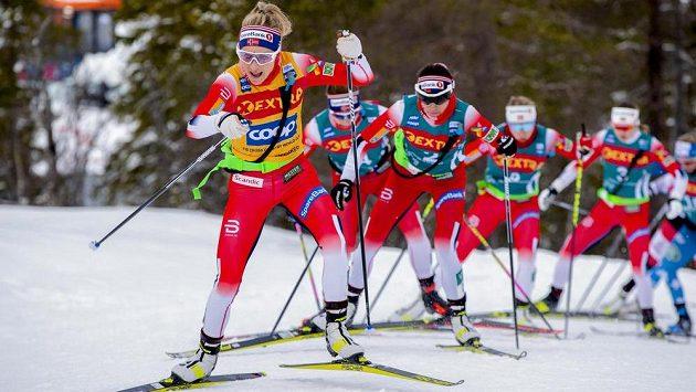 Therese Johaug na čele závodu ze švédského Storlienu do norského Meraakeru.