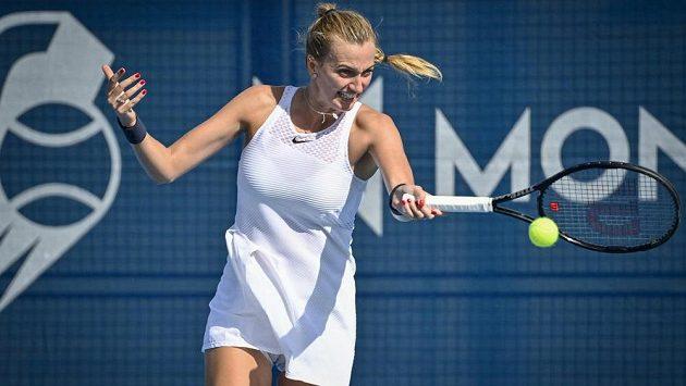 Hvězdná tenistka Petra Kvitová v utkání proti Rebecce Šramkové ze Slovenska na turnaji v Praze.