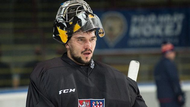 Jakub Kovář během tréninku hokejové reprezentace před turnajem Švédské hokejové hry.