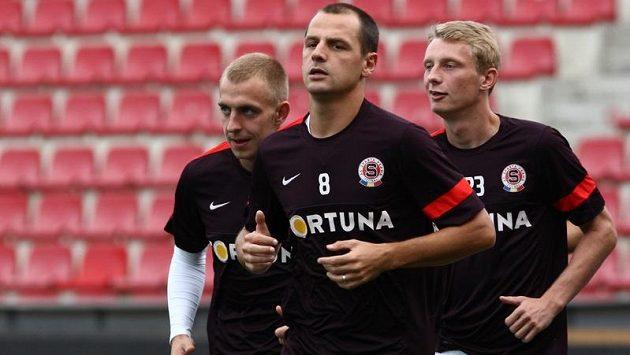 Zleva Jiří Skalák, Marek Matějovský a Ladislav Krejčí na tréninku Sparty.
