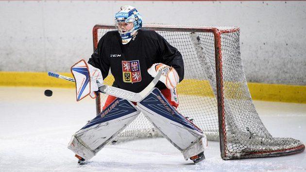 Dominik Hrachovina na tréninku hokejové reprezentace v Letňanech.