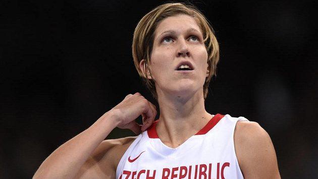 Basketbalistka USK Praha Jana Veselá v reprezentačním dresu