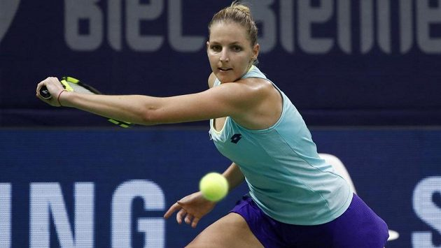 Kristýna Plíšková na turnaji ve švýcarském Bielu.