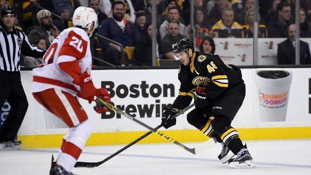 Český útočník David Krejčí (46) z Bostonu Bruins přemýšlí, co udělá s pukem. V cestě mu stojí obránce Detroitu Red Wings Drew Miller (20).