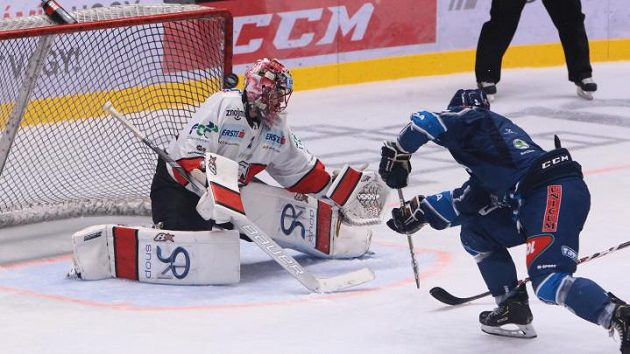 Hokejisté Znojma inkasují gól v utkání proti maďarskému Székesfehérváru.