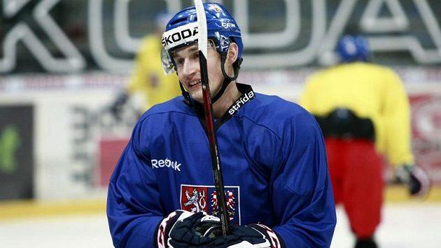 Tomáš Mojžíš ještě na tréninku hokejové reprezentace.