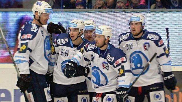 Hokejisté Plzně se radují z gólu - ilustrační foto