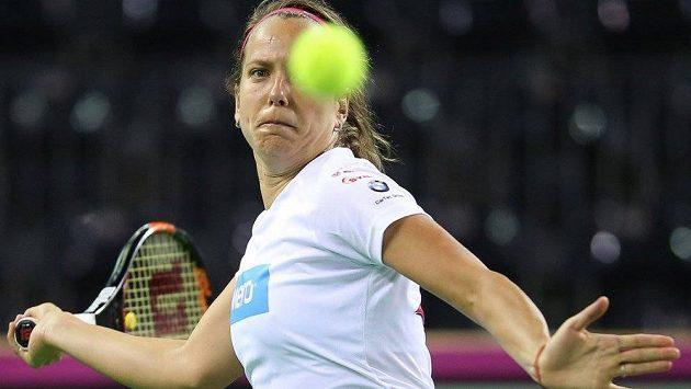 Barbora Strýcová v plném tréninku.