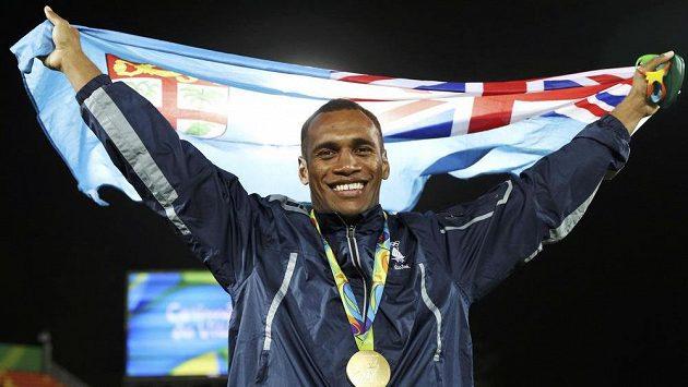Kapitán ragbistů Fidži Osea Kolinisau po triumfu.
