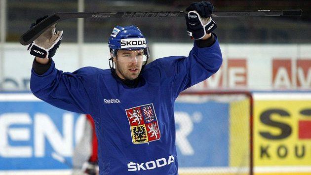 Milan Gulaš na tréninku hokejové reprezentace.