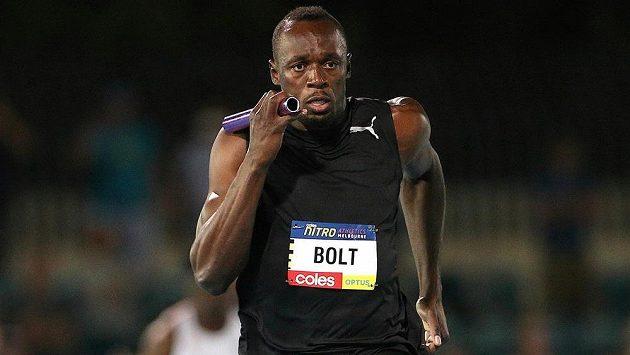 Usain Bolt při exhibici v Melbourne.