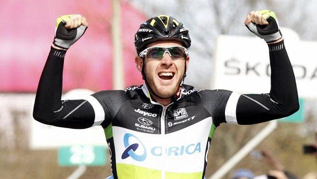 Matthew Goss z týmu Orica Greenedge v cíli etapy Dira d´Italia v dánském Horsens.