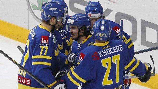 Radost švédských hokejistů. Ilustrační foto