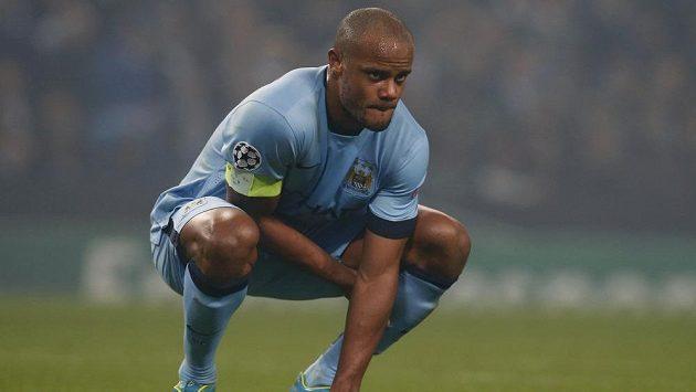 Zklamaný kapitán Manchesteru City Vincent Kompany po porážce od CSKA Moskva.