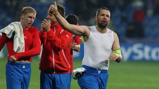 Kapitán Plzně Pavel Horváth po domácím zápase s Bayernem děkuje fanouškům.