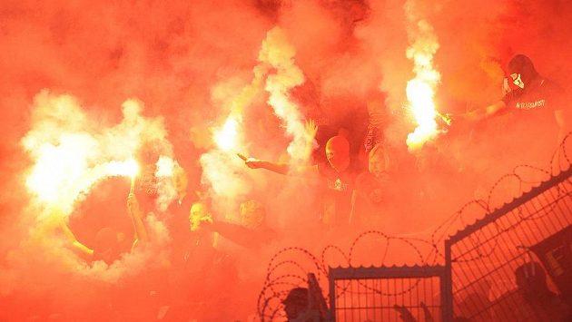 Fanoušci Sparty během derby v Edenu.