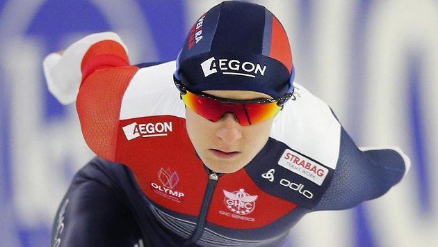 Martina Sáblíková v závodu na 3000 metrů v rámci SP v Heerenveenu.
