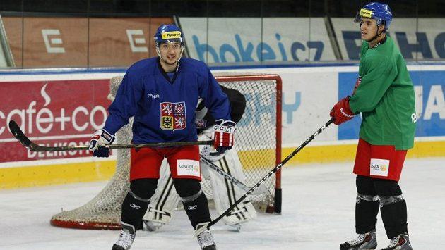Útočník Jan Kovář (vlevo) na tréninku české hokejové reprezentace.