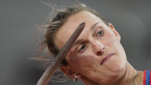 Barbora Špotáková v Dauhá při kvalifikaci oštěpařek.