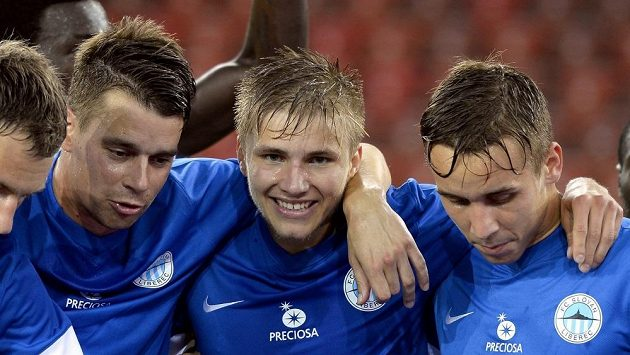 Libercký fotbalista Martin Frýdek se raduje z gólu v odvetě třetího předkola Evropské ligy v Curychu.