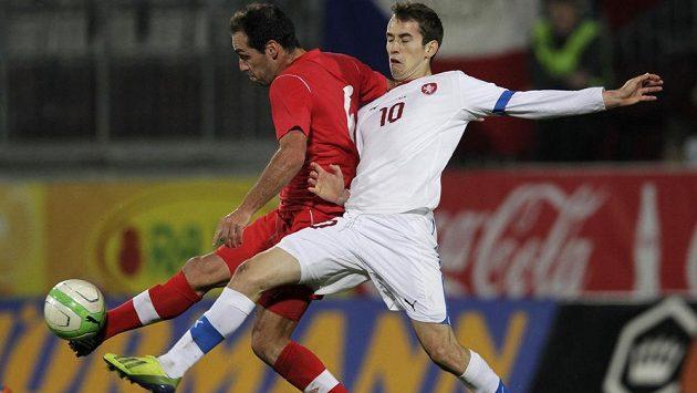 Tomáš Hořava (vpravo) v souboji s Kanaďanem Pedrem Pachecem.