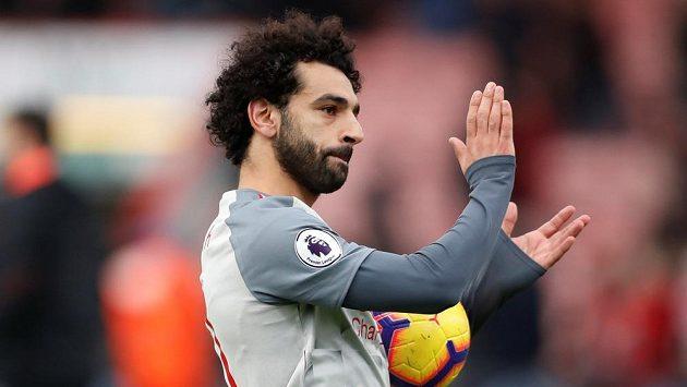 Liverpoolský kanonýr Muhammad Salah na hřišti Bournemouthu.