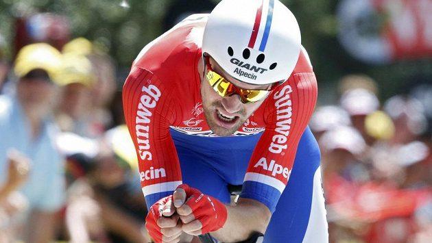 Nizozemec Tom Dumoulin při Tour de France během 13. etapy, kterou byla časovka.