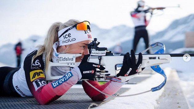 Norská biatlonistka Tyril Eckhoffová během přípravy na novou sezonu.