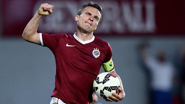 Radost útočníka pražské Sparty Davida Lafaty z třetího gólu do sítě Malmö.